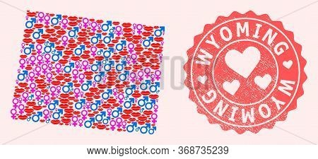 Vector Collage Of Love Smile Map Of Wyoming State And Red Grunge Seal With Heart. Map Of Wyoming Sta