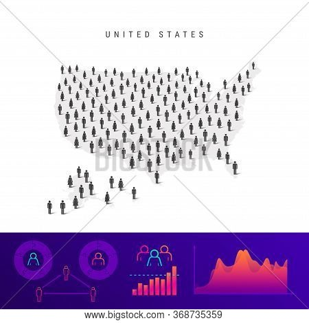 American People Map. Detailed Vector Silhouette. Mixed Crowd Of Men And Women Icons. Population Info