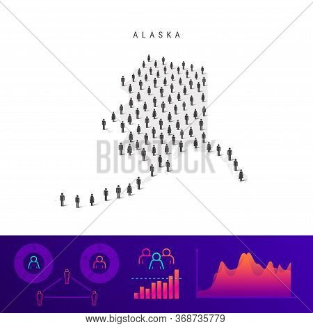 Alaska People Map. Detailed Vector Silhouette. Mixed Crowd Of Men And Women Icons. Population Infogr
