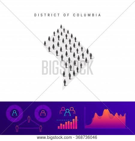 District Of Columbia People Map. Detailed Vector Silhouette. Mixed Crowd Of Men And Women Icons. Pop