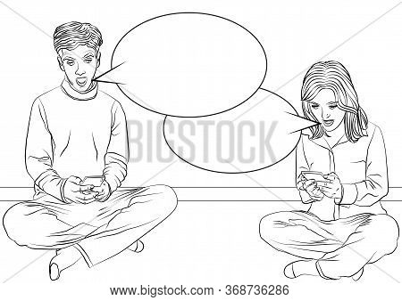 Man And Woman Sitting On A Floor With Legs Crossed, Looking At Their Mobile Phones And Screaming - C