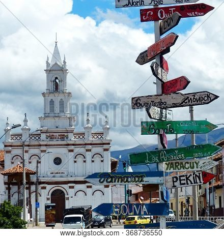 Cuenca, Ecuador. View Of The Todos Santos Church, Oldest In The City, Approximately 1534, In Histori