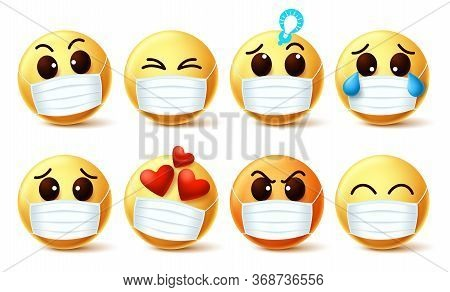 Emoticon Wearing Face Mask Vector Set. Emoji Emoticon Wearing Face Mask With Facial Emotions For The