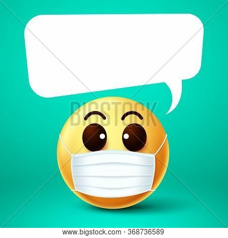 Emoji Smile Face Mask Vector Template. Emoji Smile Wearing Face Mask With Empty White Speech Bubble