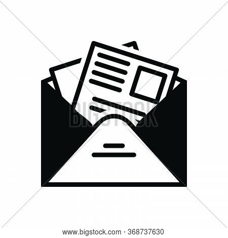 Black Solid Icon For Newsletter  Template News Subscription Publication Information Publish Reportag