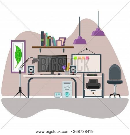 Vector Illustration Of The Interior Of A Front Look Workspace In A Comfortable Home. Suitable For De
