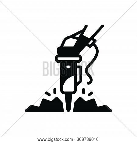 Black Solid Icon For Rock-breaker Rock Breaker Hammer Demolition