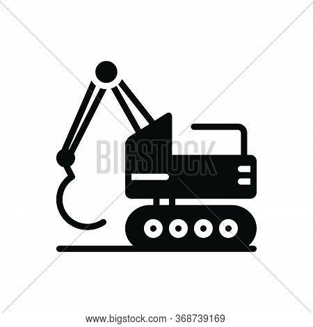 Black Solid Icon For Excavator  Construction Bulldozer  Backhoe  Digger