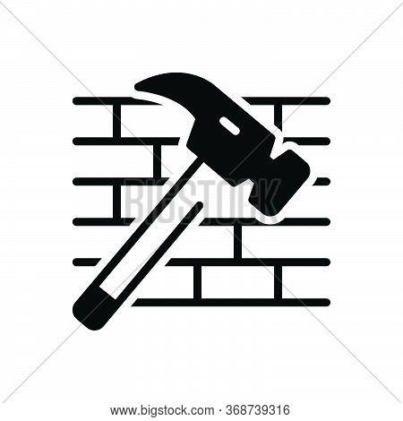 Black Solid Icon For Hammer-and-bricks Hammer Bricks Shattered Destroyed Damaged