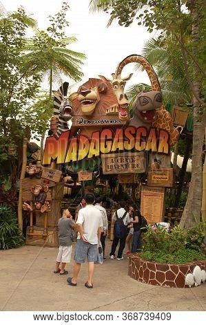 Sentosa, Sg - April 5 - Universal Studios Singapore Madagascar Theme Entrance Arch On April 5, 2012