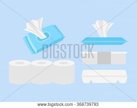Set Of Rice Box, Wet Tissue And Toilet Tissue.