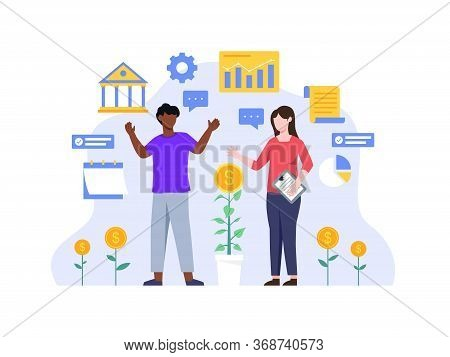 Investments And Finance Concept. People Working Together And Growing A Successful Financial. People