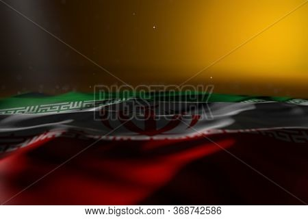 Wonderful Dark Picture Of Iran Flag Lying On Yellow Background With Selective Focus And Empty Space