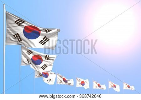 Wonderful Many Republic Of Korea (south Korea) Flags Placed Diagonal With Soft Focus And Free Place