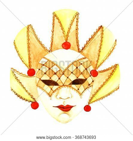 Watercolor Harlequin Masquerade Mask Of Warm Sunny Shades Isolated On White Background. Yellow Venet