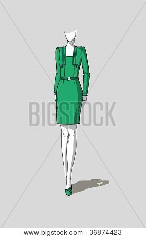 Woman in form-fitting dress