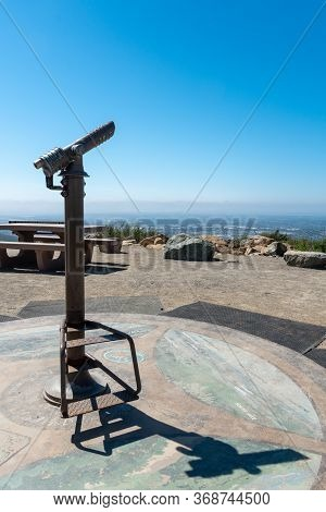 Telescope On The Summit Of The Double Peak Park In San Marcos. 200 Acre Park Featuring A Play Area A