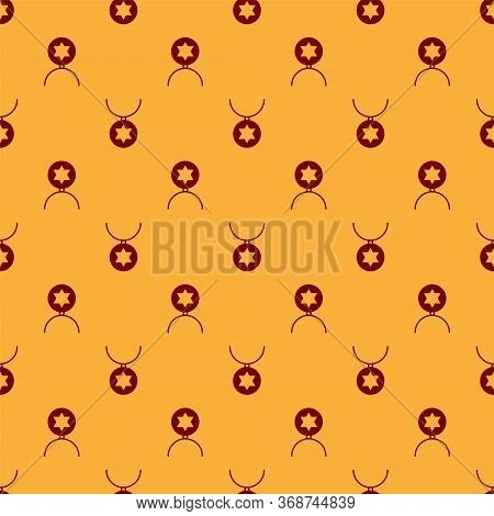 Red Star Of David Necklace On Chain Icon Isolated Seamless Pattern On Brown Background. Jewish Relig