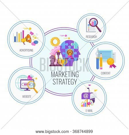 Marketing Mix Concept. Infographic Icons. Strategy And Management. Segmentation, Target Audience. Su