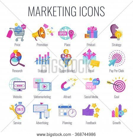 Marketing Icons. Marketing Mix Infographic. Strategy And Management. Segmentation, Target Audience.