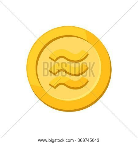 Coin Gold Realistic Logo Libra Calibra Currency Isolated On White Background, Libra Calibra Currency