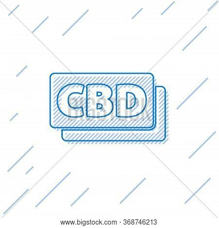 Blue Line Cannabis Molecule Icon Isolated On White Background. Cannabidiol Molecular Structures, Thc