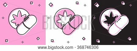 Set Herbal Ecstasy Tablets Icon Isolated On Pink And White, Black Background. Vector Illustration.