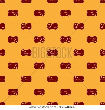 Red Sponge Icon Isolated Seamless Pattern On Brown Background. Wisp Of Bast For Washing Dishes. Clea