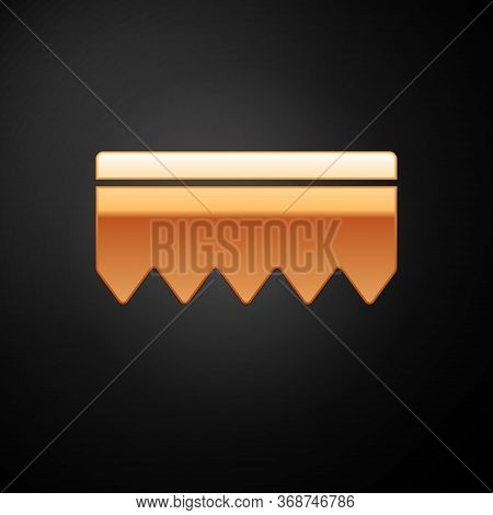 Gold Sponge With Bubbles Icon Isolated On Black Background. Wisp Of Bast For Washing Dishes. Cleanin