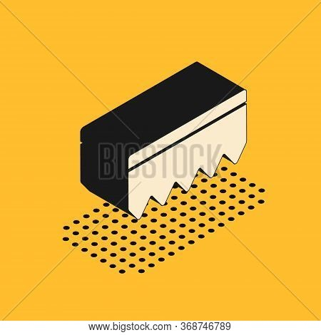 Isometric Sponge With Bubbles Icon Isolated On Yellow Background. Wisp Of Bast For Washing Dishes. C