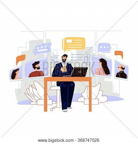 Business Video Conference Vector Flat Illustration. Man Businessman Character Sitting In Office, Mak