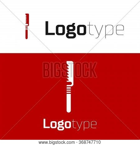 Red Medical Saw Icon Isolated On White Background. Surgical Saw Designed For Bone Cutting Limb Amput