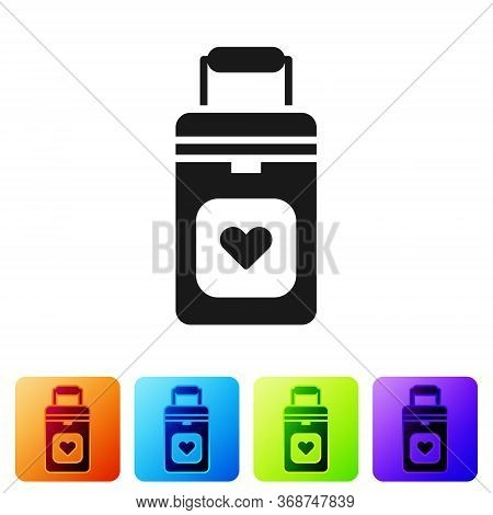 Black Cooler Box For Human Organs Transportation Icon Isolated On White Background. Organ Transplant