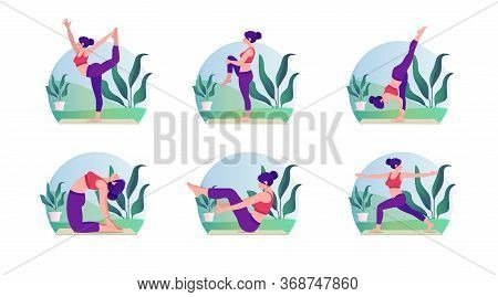 Beautiful Yoga Exercise Set On Nature. Relax Outdoors Exercises, Healthcare Fitness And Healthy Life