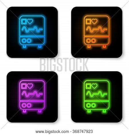 Glowing Neon Computer Monitor With Cardiogram Icon Isolated On White Background. Monitoring Icon. Ec
