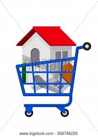 House In Shopping Cart For Icon Isolated On White, Home In Basket Cart For Sale Or House Buy Symbol
