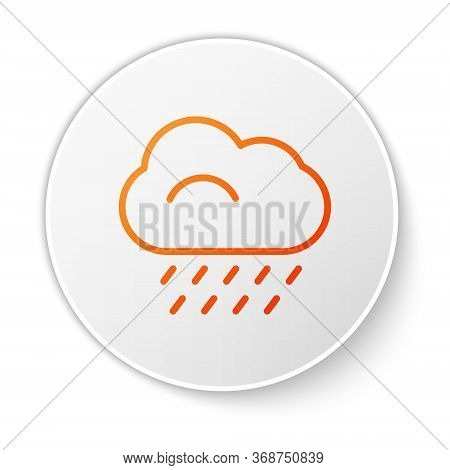 Orange Line Cloud With Rain Icon Isolated On White Background. Rain Cloud Precipitation With Rain Dr