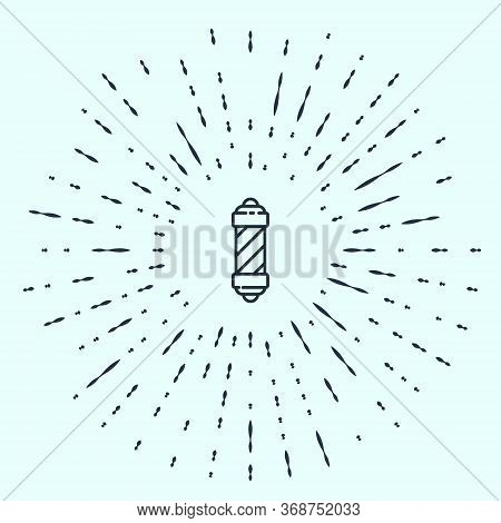 Black Line Classic Barber Shop Pole Icon Isolated On Grey Background. Barbershop Pole Symbol. Abstra