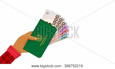 Passbook And Thai Baht Money Banknote In Farmer Hand, Bankbook Farmer And Bank Note Money Thai Baht,
