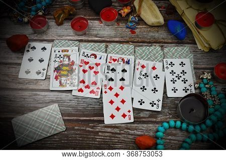 Russia. Moscow. February 2020. Playing Solitaire. Playing Cards On The Table. Guessing On Destiny. P