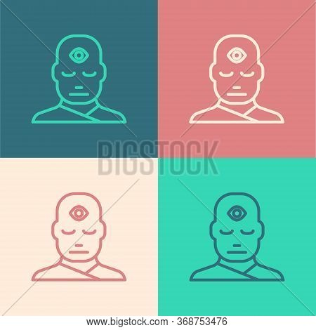 Pop Art Line Man With Third Eye Icon Isolated On Color Background. The Concept Of Meditation, Vision