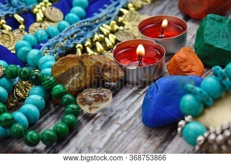 Divination And Prediction Background. Ritual Amulets And Symbols. Prophecy And Occult