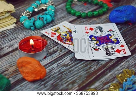 Moscow. Russia. March 2020. Card Fortune-telling And Divination Background. Occult Magic Objects On