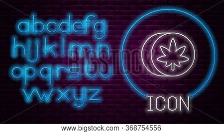 Glowing Neon Line Herbal Ecstasy Tablets Icon Isolated On Brick Wall Background. Neon Light Alphabet