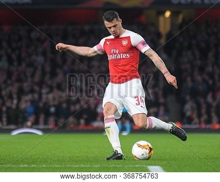 London, England - May 2, 2019: Granit Xhaka Of Arsenal Pictured During The First Leg Of The 2018/19