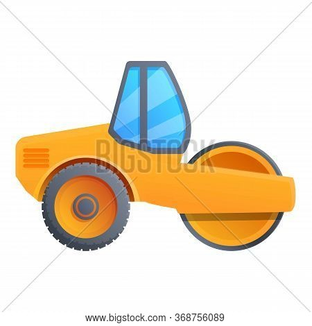 Modern Road Roller Icon. Cartoon Of Modern Road Roller Vector Icon For Web Design Isolated On White