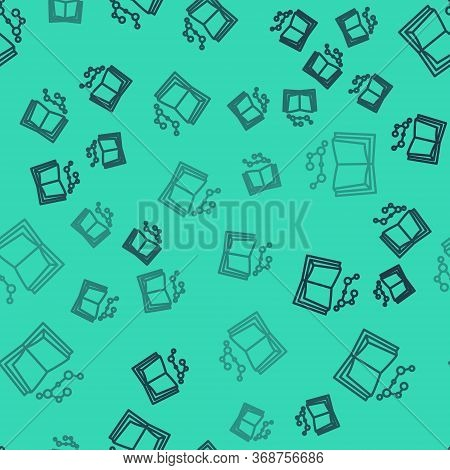 Black Line Open Book Icon Isolated Seamless Pattern On Green Background. Vector Illustration.