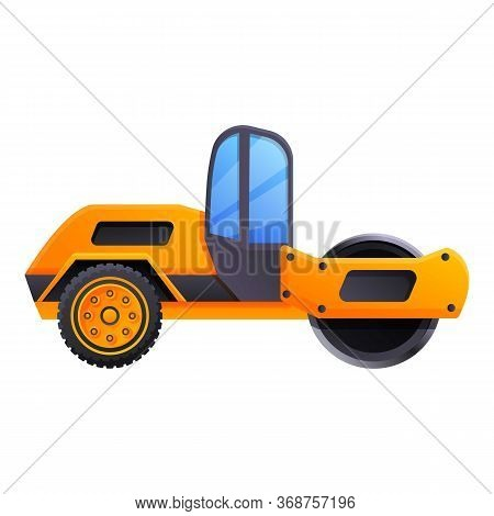 Road Roller Machine Icon. Cartoon Of Road Roller Machine Vector Icon For Web Design Isolated On Whit