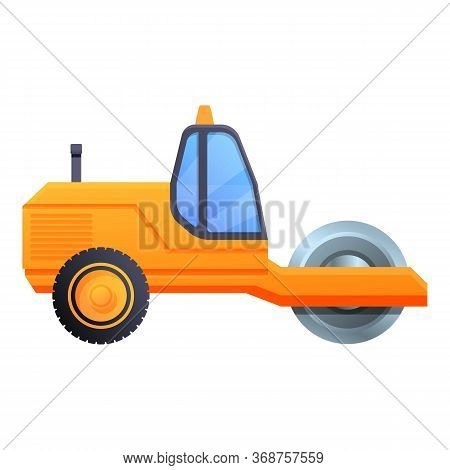 Toy Road Roller Icon. Cartoon Of Toy Road Roller Vector Icon For Web Design Isolated On White Backgr