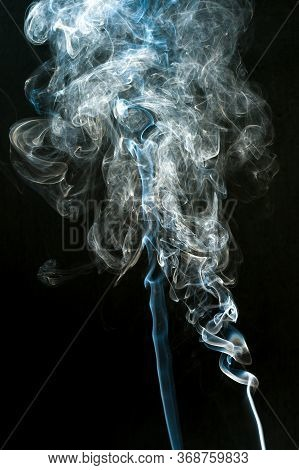 Smoke Cloud With Black Background. Fog Texture - Image